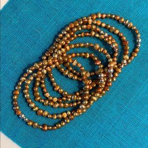Silpada Copper Pearl & Silver stretch bracelets -7